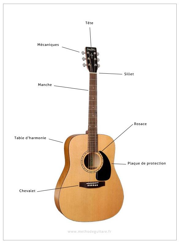 anatomie d'une guitare acoustique